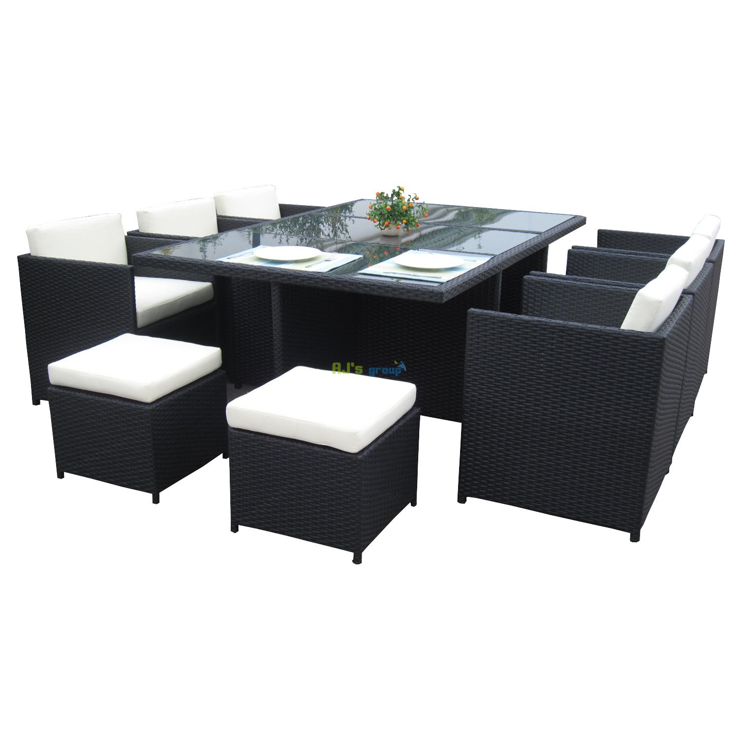 poly rattan essgruppe san diego alu gartenm bel garnitur lounge. Black Bedroom Furniture Sets. Home Design Ideas