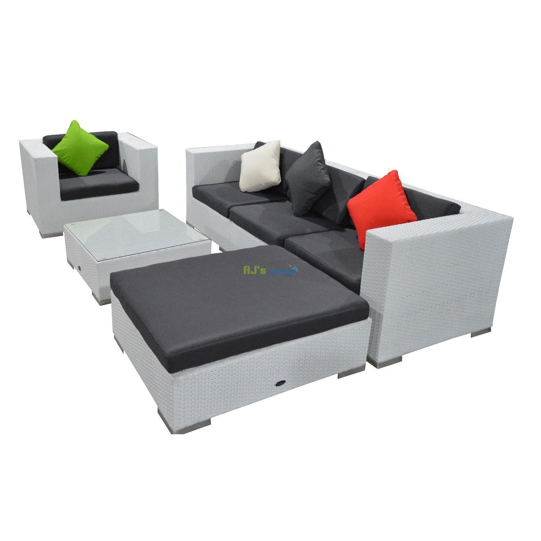 poly rattan gartenm bel florida alu garnitur lounge garten sitzg. Black Bedroom Furniture Sets. Home Design Ideas