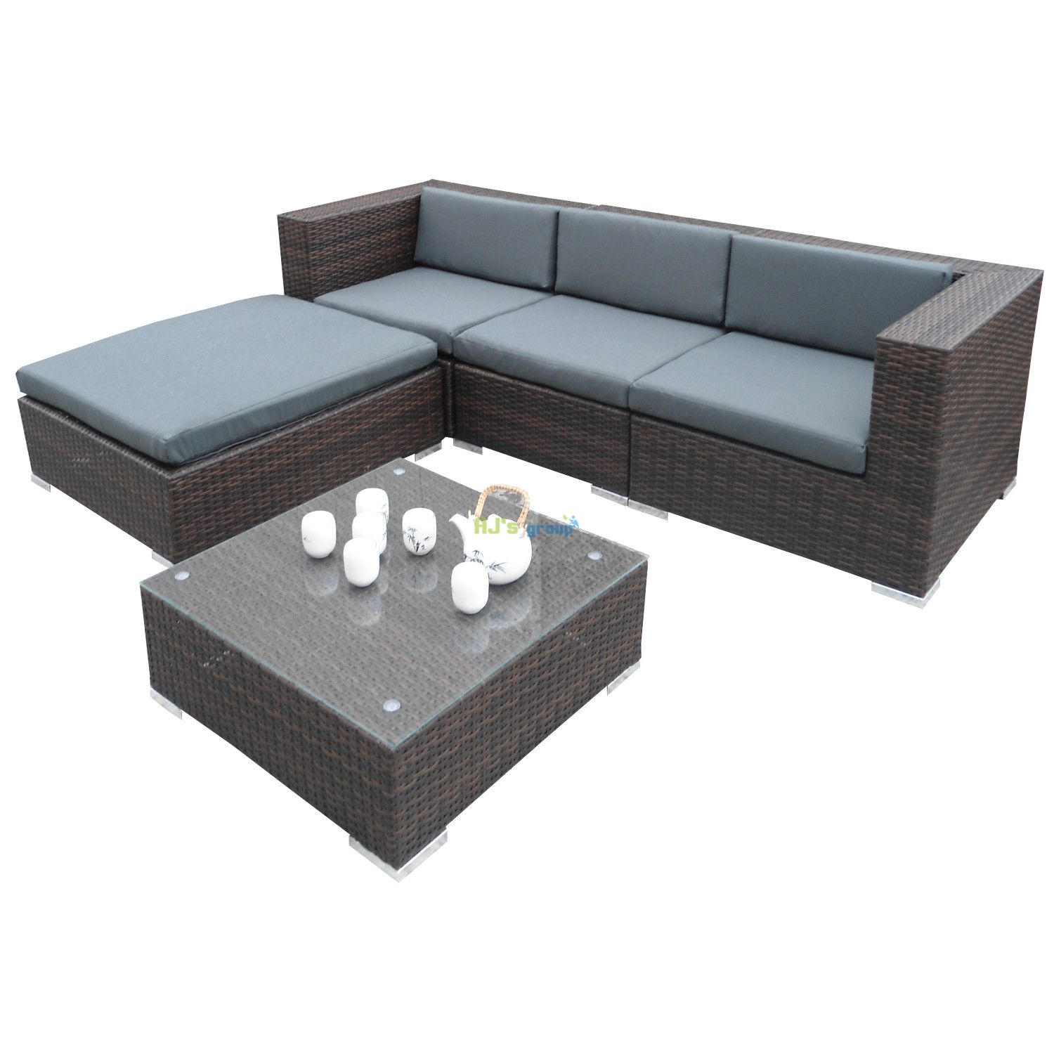 poly rattan gartenm bel houston alu garnitur lounge garten sitzg. Black Bedroom Furniture Sets. Home Design Ideas