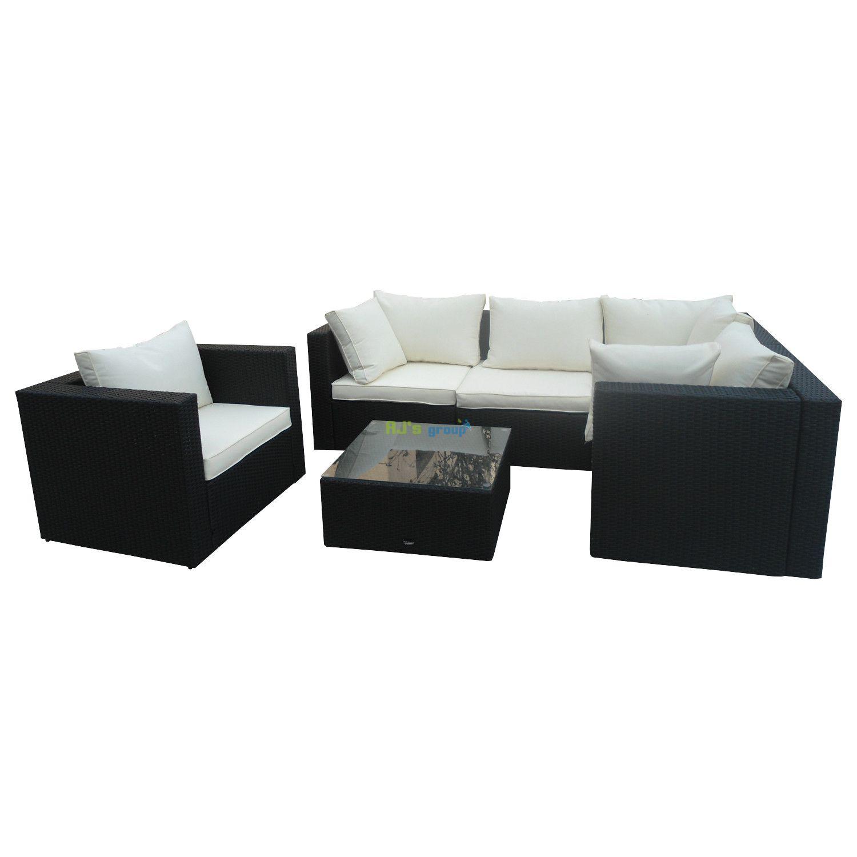 rattan wicker garden patio set kansas black outdoor lounge. Black Bedroom Furniture Sets. Home Design Ideas