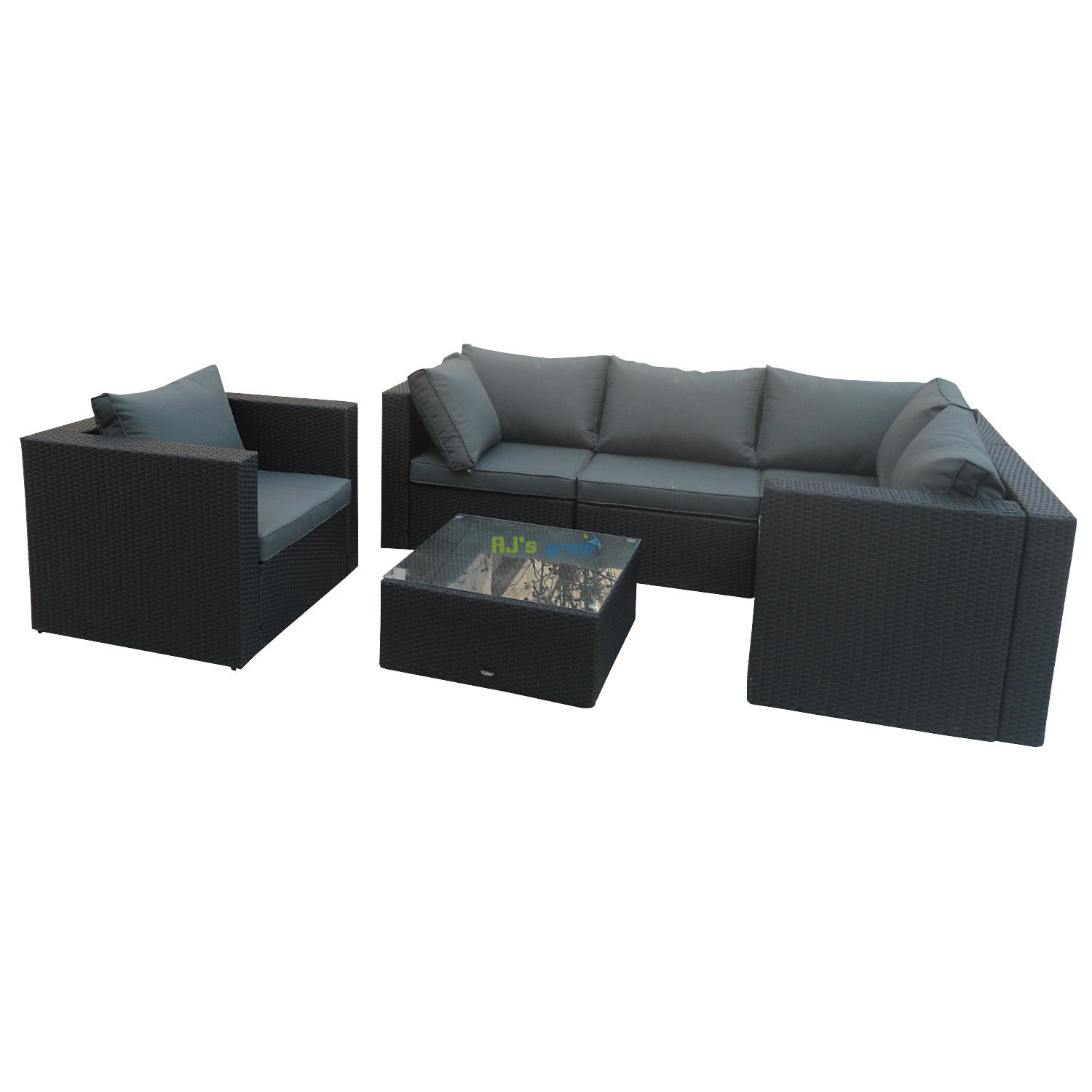 poly rattan gartenm bel kansas alu garnitur lounge garten sitzgruppe gartenset. Black Bedroom Furniture Sets. Home Design Ideas